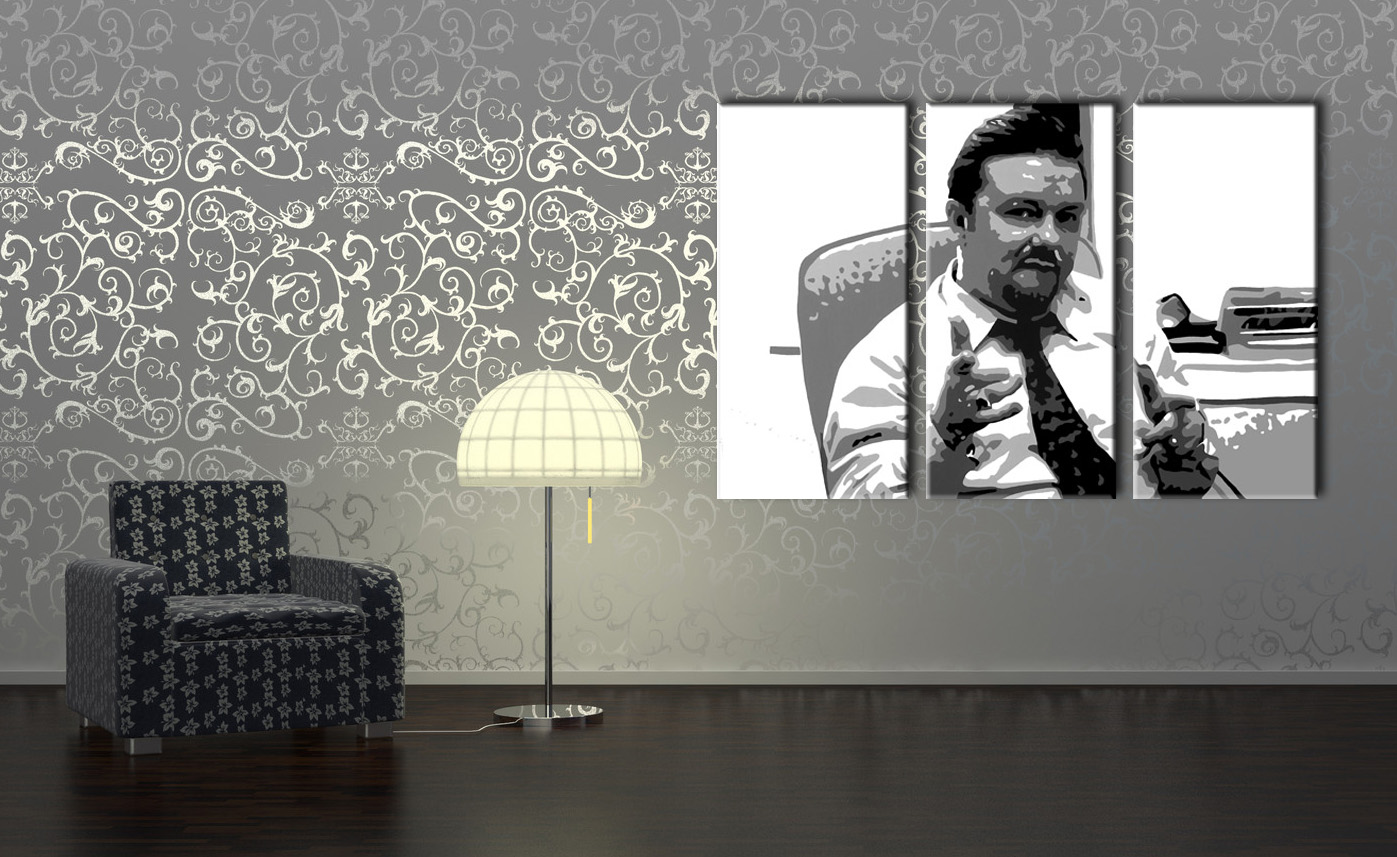 Ručno slikane slike na platnu na platnu POP Art The Office 3-dijelna 120x80cm