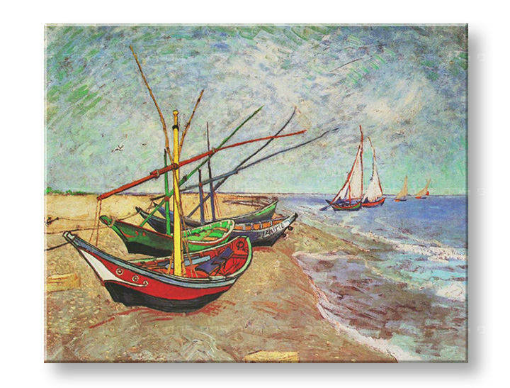Slika na platnu FISHING BOATS ON THE BEACH AT SAINTS-MARIES – Vincent van Gogh